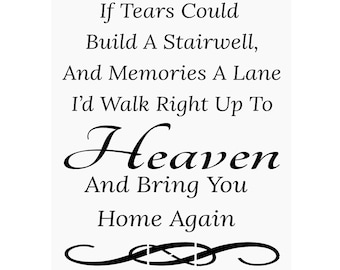 Primitive Stencil for Signs, Crafts, If Tears Could Build A Stairwell, Heaven, Death, Loss (#246)