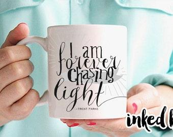 11 oz or 15 oz - I am forever chasing light - photography Ceramic Coffee Mug, quote mug, INKED KY, unique - gift for photographer, photo mug