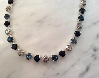 The Blues Crystal Necklace, Blue Necklace, Blue Crystal Necklace, Swarovski Crystal Necklace, Indigo Crystal Necklace