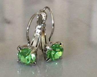 Peridot Crystal Drop Earrings, Green Crystal Leverback Earrings