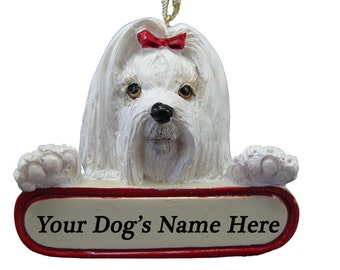 Maltese Ornament With Personalized Name Plate A Great Gift For  Maltese Lovers