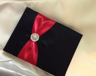 Wedding guest book red and black