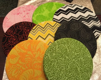 Fabric covered circle cork boards! Come in a variety of colors and in medium or large sizes!
