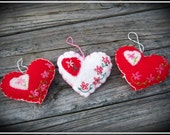 Heart Ornaments, Embroidery, Shabby Chic, Victorian, Farmhouse, Valentine's Day, Love, Handmade, Set of 3