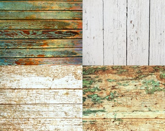 FOUR 2' x 2' Vintage Wood Floordrops / Vinyl Photography Backdrops for Product Photos Fl2