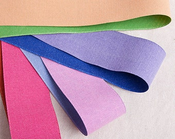 """Two-Tone Double Sided Linen Ribbon. <1""""(25mm), 1.5""""(40mm) – 5Colors>"""