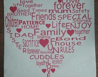 Vinyl Worded Heart Wall Art