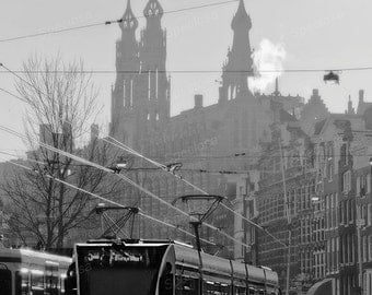 Black and White, photograph, Holland, tram, Amsterdam, nieuwezijds voorburgwal, Urbex, art print