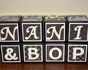 Personalized Grandparent Gifts - Personalized Wooden Blocks - Personalized Grandparent Blocks - New Grandparent Gifts - Wooden Photo Blocks