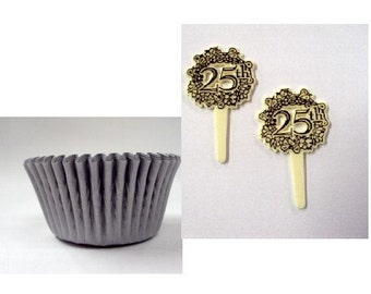 25th Anniversary Picks with Silver Baking Cups