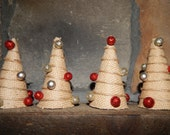Burlap Christmas Decoration - Set of 4 Christmas Trees