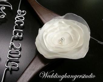 2 Line - Wedding hangers with handmade offwhite satin flower / Mrs. Hanger / Bride hanger / Wedding dress hanger/ Hangers