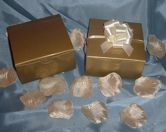 "25 Glossy Favor Boxes - 4""x 4"" x 2"" Gold - Wedding / Shower / Party Favors Favor Boxes - 25 Boxes"