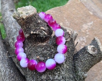 Magenta Ombre Glass Bead Bracelet