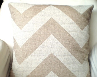 Chevron Decorative Throw Pillow Covers, Cushions, Burlap-Like Pillows, Couch Pillows, Zippy, Throw Pillow, Burlap, One or More All Sizes