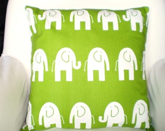 Green Elephant Pillow Covers, Nursery Throw Pillows, Cushions, Throw Pillow, Childrens Baby Pillow, Decorative Pillow, One or More All Sizes