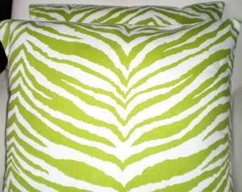 Green Zebra Pillow Covers, Nursery Throw Pillows, Cushions, Throw Pillow, Childrens Baby Pillow, Decorative Pillow, One or More All Sizes