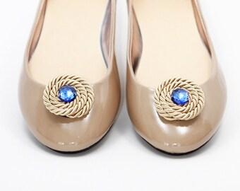 Swirl Gold/Blue shoe clips