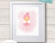 Little girl pink ballerina fairy, Childrens / Art Nursery Print,  Wall Decor,  Wall Art. Can be personalized with name.