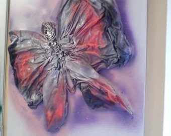 The Butterfly-collage-acrylic-panel laquired-Withe-Modern art-Art contemporary-design-Fantasy-Picture-animals-moon