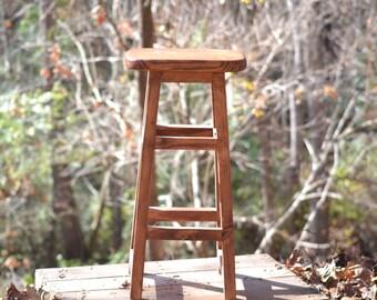 "Wood Barstool 30"", Rustic Barstool, Wooden Bar Stools, Rustic Kitchen Counter Stools"