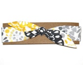 Retro Headband Stretchy  Knot Head Band Bandana Bandanna Yellow Grey Black White Floral Print