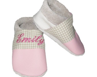 Soft Sole Leather Shoes   , BabyShoes Beige pink * FREE SHIPPING *