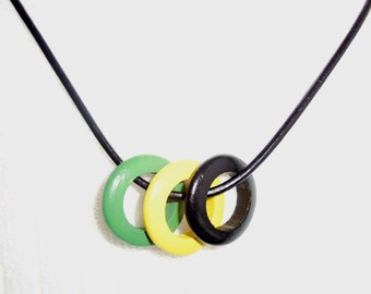 Jamaica Necklace, Black - Gold - Green Necklace, Jamrock Necklace, Jamaica-on-Mi-Mind Necklace