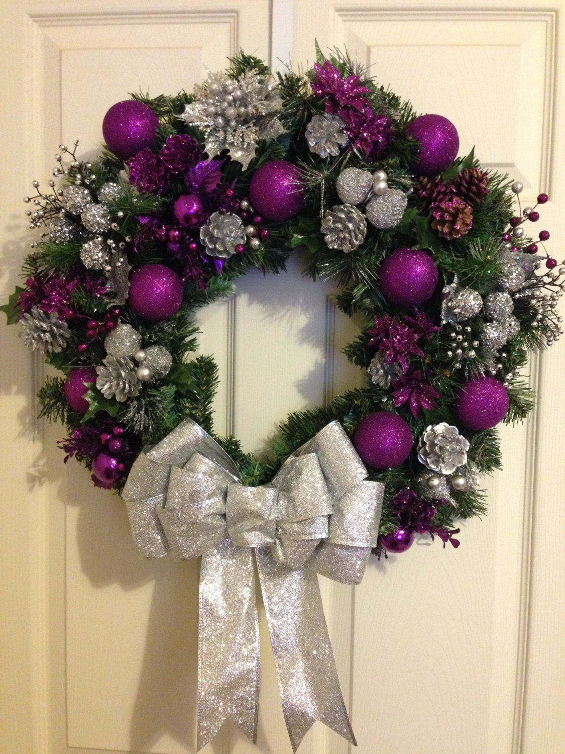 Royal Purple And Silver Christmas Wreath
