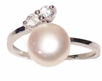 Genuine Cultured Fresh Water Pearl 8mm Adjustable Ring