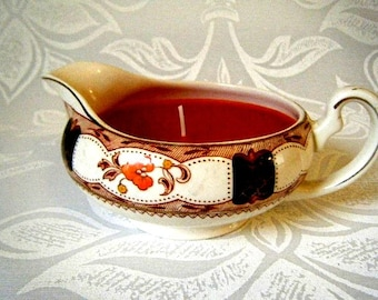 Vintage Handmade Orange Gravy Boat Candle