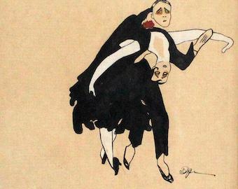 Acrylic Painting of Art Deco Couple Dancing by Erte