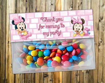 Treat bag topper Disney's Baby Minnie Mouse. Thank you favor bags of Baby Minnie Mouse