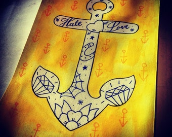 Original Tattoo Style Anchor Painting
