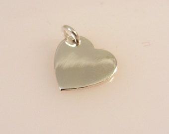 Sterling Silver Sideways Hanging HEART Charm Pendant Engrave .925 Sterling Silver New hr01
