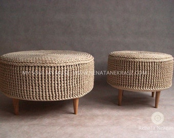 PROMOTION!Crochet pouf, crochet footstool, round pouf, knitted pouf, knitted footstool, pouf, footstool, table model 009. 55cm / 21,6inch