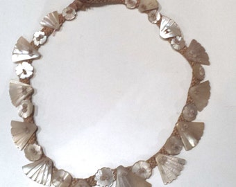 1930s Mother of Pearl Fan Motif strong on Silk Chord Necklace