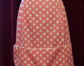 Handmade Pink Polka Dot Hostess Half Apron with Large Pockets