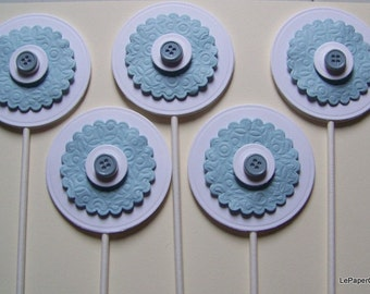 Blue & white cupcake toppers