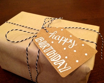 "Modern Calligraphy Gift Tag // ""Happy Birthday"" // 1.75 x 3-inch Handwritten, Kraft Tag"