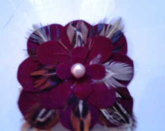 Maroon Feather Hair Clip