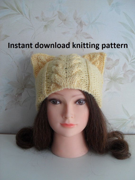 Instant Download knitting pattern/ pussyhat / cat ear hat/ Cat hat knitting p...
