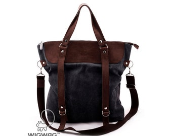 Large womens bag canvas leather bag leather handle bag