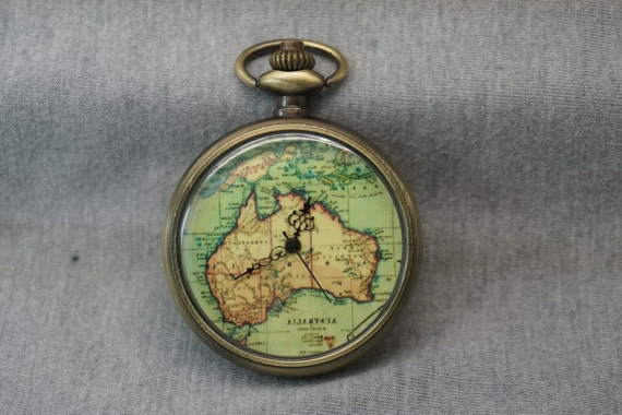 australia map pocket antique bronze big world by