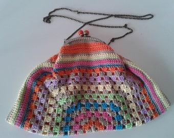 Crochet handmade colorful clutch vintage grantma's style