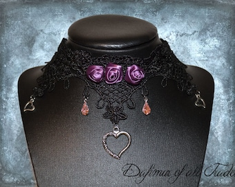 Choaker light purple roses hearts cristals Gothic Necklace victorian black lace Valentines day
