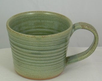 Luna Green Hand Thrown Pottery Coffee Mug