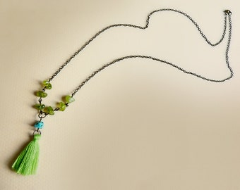 Bohemian style sautoir necklace with green peridot