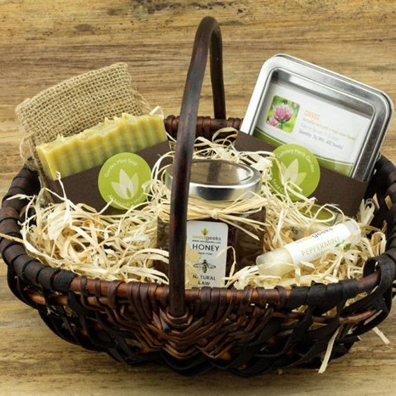 Handmade Basket Gifts : Heirloom garden gift basket w handmade soap lip balm oz