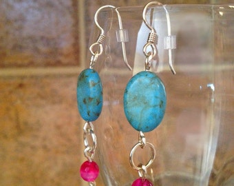 Earrings With Turquoise Magnesite & Rose Agate Gemstones